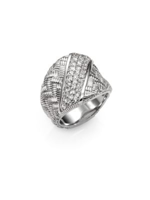 Mercer White Sapphire & Sterling Silver Berge Saddle Ring