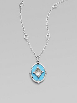 Judith Ripka - White Sapphire, Turquoise & Sterling Silver Pendant Necklace