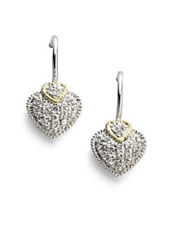 Judith Ripka - White Sapphire, 18K Gold & Sterling Silver Heart Earrings