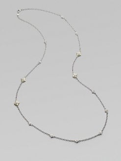 Judith Ripka - White Sapphire, Sterling Silver & 18K Yellow Gold Necklace