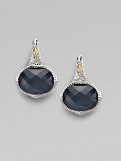 Judith Ripka - Blue Quartz & Hematite Doublet Oval Stone Earrings