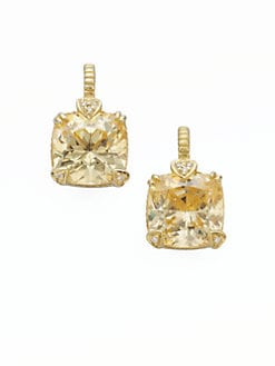 Judith Ripka - Canary Crystal, Diamond & 14K Gold Cushion Drop Earrings