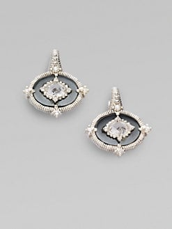 Judith Ripka - Hematite, White Sapphire, Crystal & Sterling Silver Earrings