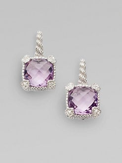 Judith Ripka - Amethyst, White Sapphire & Sterling Silver Cushion Drop Earrings