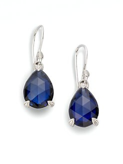 Judith Ripka - Blue Corundum & Sterling Silver Pear Stone Earrings