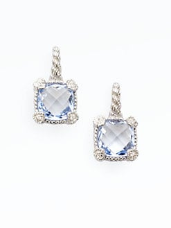 Judith Ripka - Blue Quartz, White Sapphire & Stereling Silver Cushion Drop Earrings