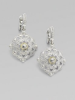Judith Ripka - White Sapphire, Sterling Silver & 18K Yellow Gold Windsor Earrings