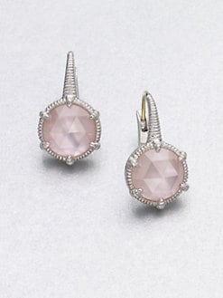 Judith Ripka - Mother-of-Pearl Pink Crystal Doublet Earrings