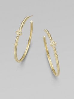Judith Ripka - Diamond and 14K Yellow Gold Hoop Earrings/1½