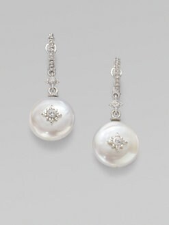 Judith Ripka - White Sapphire-Accented White Pearl Drop Earrings