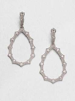 Judith Ripka - White Sapphire & Sterling Silver Open Drop Earrings