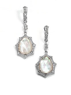 Judith Ripka - White Sapphire, Mother-of-Pearl and Sterling Silver Drop Earrings