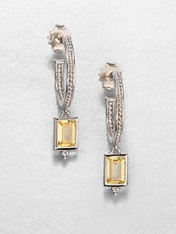 Judith Ripka - Canary Crystal & Sterling Silver Hoop Drop Earrings