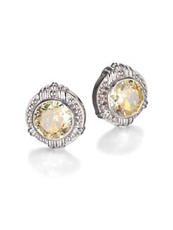 Judith Ripka - Canary Crystal & Sterling Silver Button Earrings