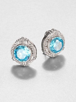 Judith Ripka - Sky Blue Crystal & Sterling Silver Button Earrings