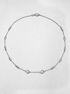 Judith Ripka - Sky Blue Crystal & Sterling Silver Station Necklace
