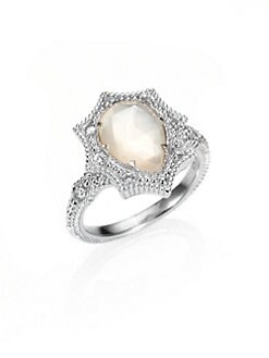 Judith Ripka - White Sapphire, Mother-of-Pearl and Sterling Silver Ring