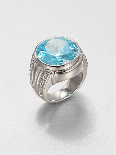 Sky Blue Crystal & Sterling Silver Cocktail Ring