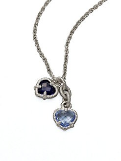 Judith Ripka - Semi-Precious Multi-Stone Dual Pendant Necklace/Blue Quartz & Corundum