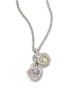 Judith Ripka - Semi-Precious Multi-Stone Dual Pendant Necklace/Pink & Canary Crystal