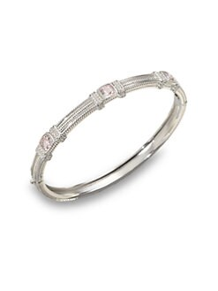 Judith Ripka - Three Stone Sterling Silver Bangle Bracelet/Pink Crystal