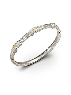 Judith Ripka - Three Stone Sterling Silver Bangle Bracelet/Canary Crystal