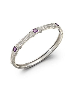 Judith Ripka - Three Stone Sterling Silver Bangle Bracelet/Amethyst
