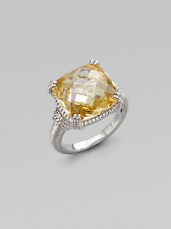 Judith Ripka - Canary Crystal & Sterling Silver Cushion Stone Ring