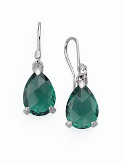 Judith Ripka - Green Quartz & Sterling Silver Pear Stone Earrings