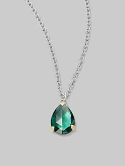 Judith Ripka - Green Quartz & Sterling Silver Pear Pendant Necklace