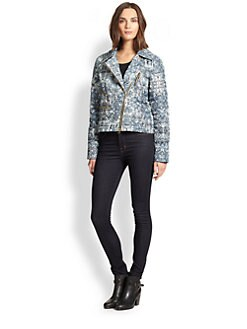 Just Cavalli - Printed Moto Puffer Jacket
