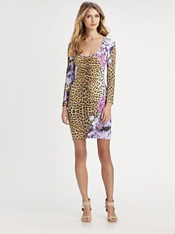 Just Cavalli - Leopard/Floral-Print Dress
