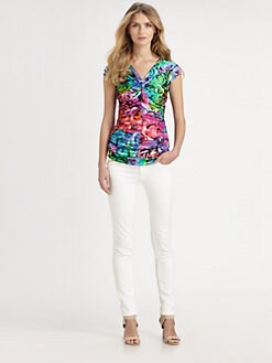 Just Cavalli - Techno Rose-Print Ruched Top