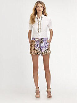 Just Cavalli - Leopard Print-Trim Blouse