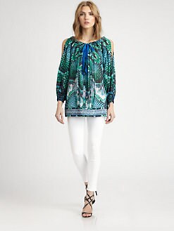 Just Cavalli - Atlantis Cotton/Silk Print Top