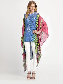 Just Cavalli - Silk Snakeskin/Fish-Print Tunic