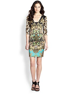 Just Cavalli - Woven Sateen Tapestry Print Dress