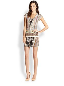 Just Cavalli - Mixed-Print Drop-Waist Dress