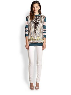 Just Cavalli - Mixed-Print Striped Wool Sweater