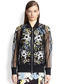 Erdem - Embroidered Silk Organza Bomber Jacket