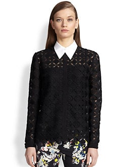 Erdem - Long-Sleeve Diamond-Lace Shirt