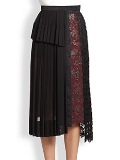 Antonio Marras - Mixed-Media Pleated Skirt