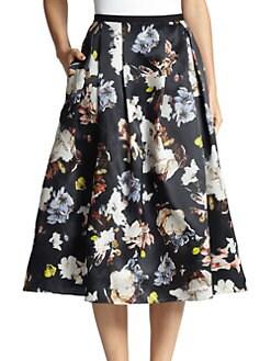 Erdem - Imari Floral Silk Midi Skirt