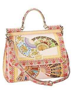 Dolce & Gabbana - Miss Sicily Fan-Print Textured-Leather Medium Satchel