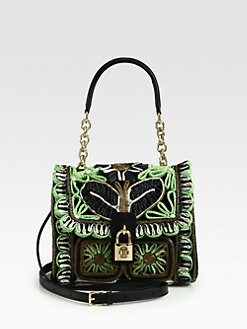 Dolce & Gabbana - Medium Dolce Floral-Print Raffia & Leather Top Handle Bag