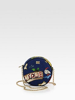 Dolce & Gabbana - Round Miss Glam Island Map Canvas Crossbody