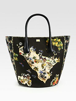 Dolce & Gabbana - Large Ingrid Sicily Map Print Canvas & Leather Bucket Bag