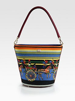 Dolce & Gabbana - Medium Canvas & Leather Horse-Print Shoulder Bag
