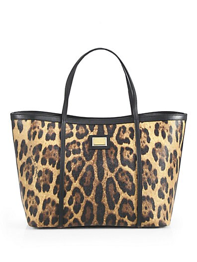 Leopard-Print Coated Canvas Tote