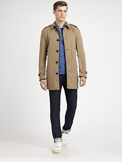 Burberry Brit - Braxton Leather-Trimmed Wool & Cotton Trenchcoat